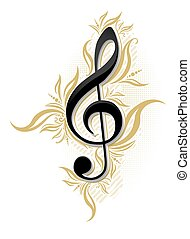 Musical design with glossy g clef and floral decor
