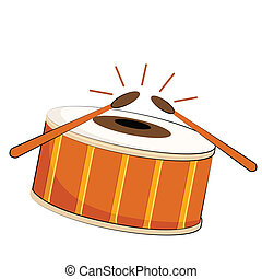 vector illustration of musical drum on isolated background