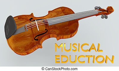 3D illustration of a violin with MUSICAL EDUCTION title, isolated on a gray gradient.