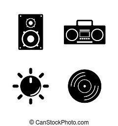 musical., eenvoudig, vector, verwant, iconen