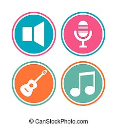 Musical elements icon. Microphone, Sound speaker.