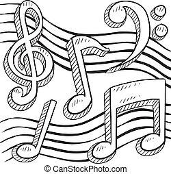 musical, esboço, notação