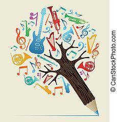 musical, estudos, conceito, lápis, árvore
