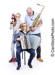 musical family with saxophone, violin and accordion in studio
