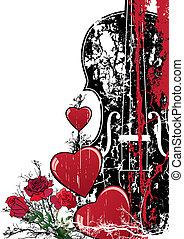 musical, floral, valentin, vecteur, composition