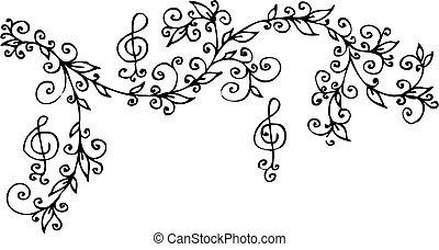 Musical Floral vignette 301 Eau-forte black-and-white decorative background vector illustration EPS-8
