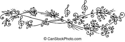 Musical Floral vignette 302 Eau-forte black-and-white decorative background vector illustration EPS-8