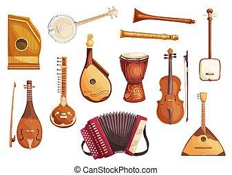 Musical folk instruments watercolor icons - Folk music...