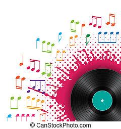 musical, fond, vinyle