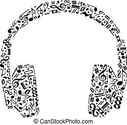 musical, fones, silueta, feito, notas