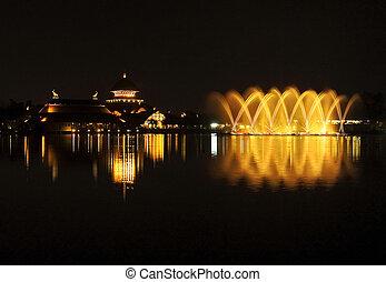 musical fountain in chiang mai night safari