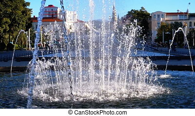 Musical Fountains in the park on the embankment of Batumi,...
