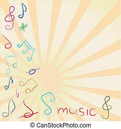 musical, fundo, com, clef treble, e, notas