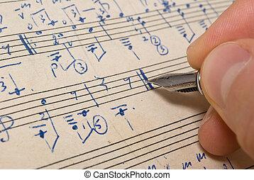 musical, fundo, -, música folha, caneta, mão