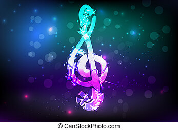 Musical glass G-clef stattered into pieces on glowing...