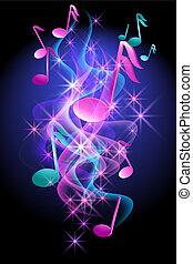 musical, glowing, notas, fundo