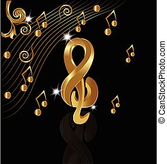 Musical gold notes background