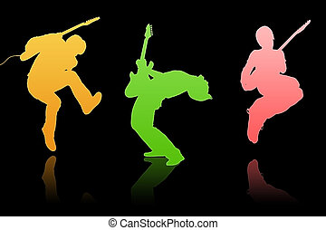 Musical group - The musical group play on the scene, color...