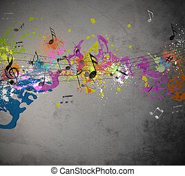 Musical grunge with spray background