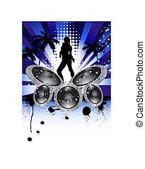 musical grunge background - Tropical grunge music background...