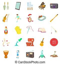 Musical hobby icons set, cartoon style