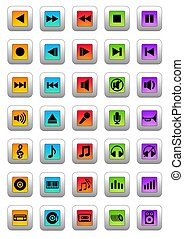 Musical icons - An illustration of 35 different colorful...