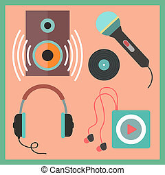 musical icons set in flat style