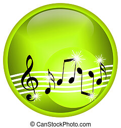 Musical illustration with dancing treble clef and notes...