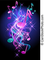 musical, incandescent, notes, fond