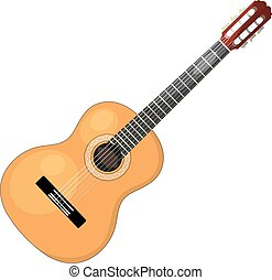 Musical instrument - acoustic cartoon guitar with strings on a white background. Isolated object. Stock vector illustration