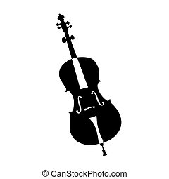 Musical instrument - An isolated silhouette of a violin on a...