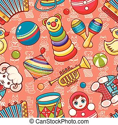 Musical instrument and baby toys. Seamless pattern. Vector...