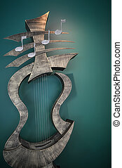 musical instrument  art statue inside a music school