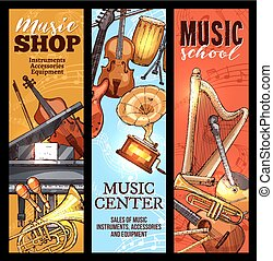 Musical instrument banner of classical, folk music