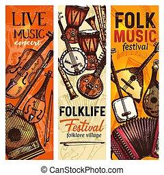 Musical instrument banner of folk music festival - Musical...