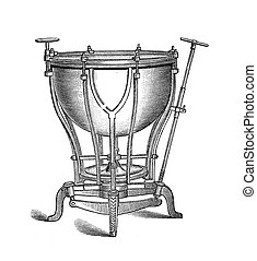 Musical instrument, bass drum vintage engraving