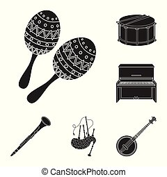 Musical instrument black icons in set collection for design....