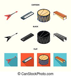 Musical instrument cartoon, black, flat icons in set collection for design. String and Wind instrument isometric vector symbol stock web illustration.