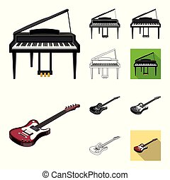 Musical instrument cartoon, black, flat, monochrome, outline icons in set collection for design. String and Wind instrument isometric vector symbol stock web illustration.