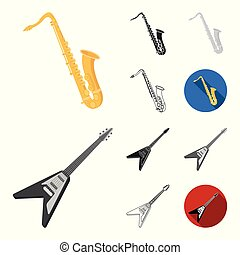 Musical instrument cartoon, black, flat, monochrome, outline icons in set collection for design. String and Wind instrument vector symbol stock web illustration.