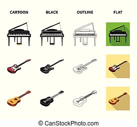 Musical instrument cartoon, black, outline, flat icons in set collection for design. String and Wind instrument isometric vector symbol stock web illustration.