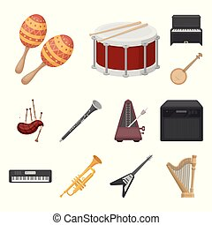 Musical instrument cartoon icons in set collection for...