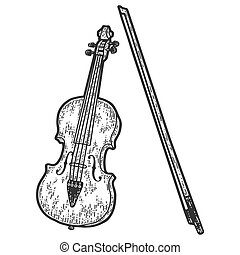 Musical instrument, cello. Sketch scratch board imitation. Black and white. Engraving vector illustration.