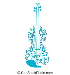 Musical instrument - An isolated abstract sketch of a violin...