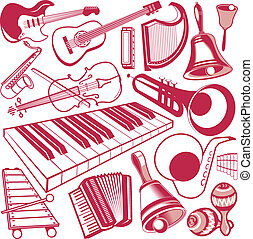 Musical Instrument Collection - Clip art of various types of...