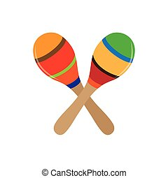 Musical instrument - Isolated pair of maracas on a white...