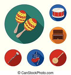 Musical instrument flat icons in set collection for design....