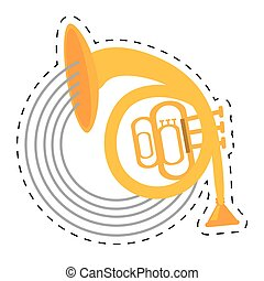 musical instrument french horn icon dotted line