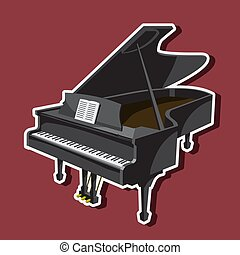 Musical instrument grand piano. The illustration on a white background.