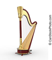Musical Instrument Harp isolated on white background. 3D render